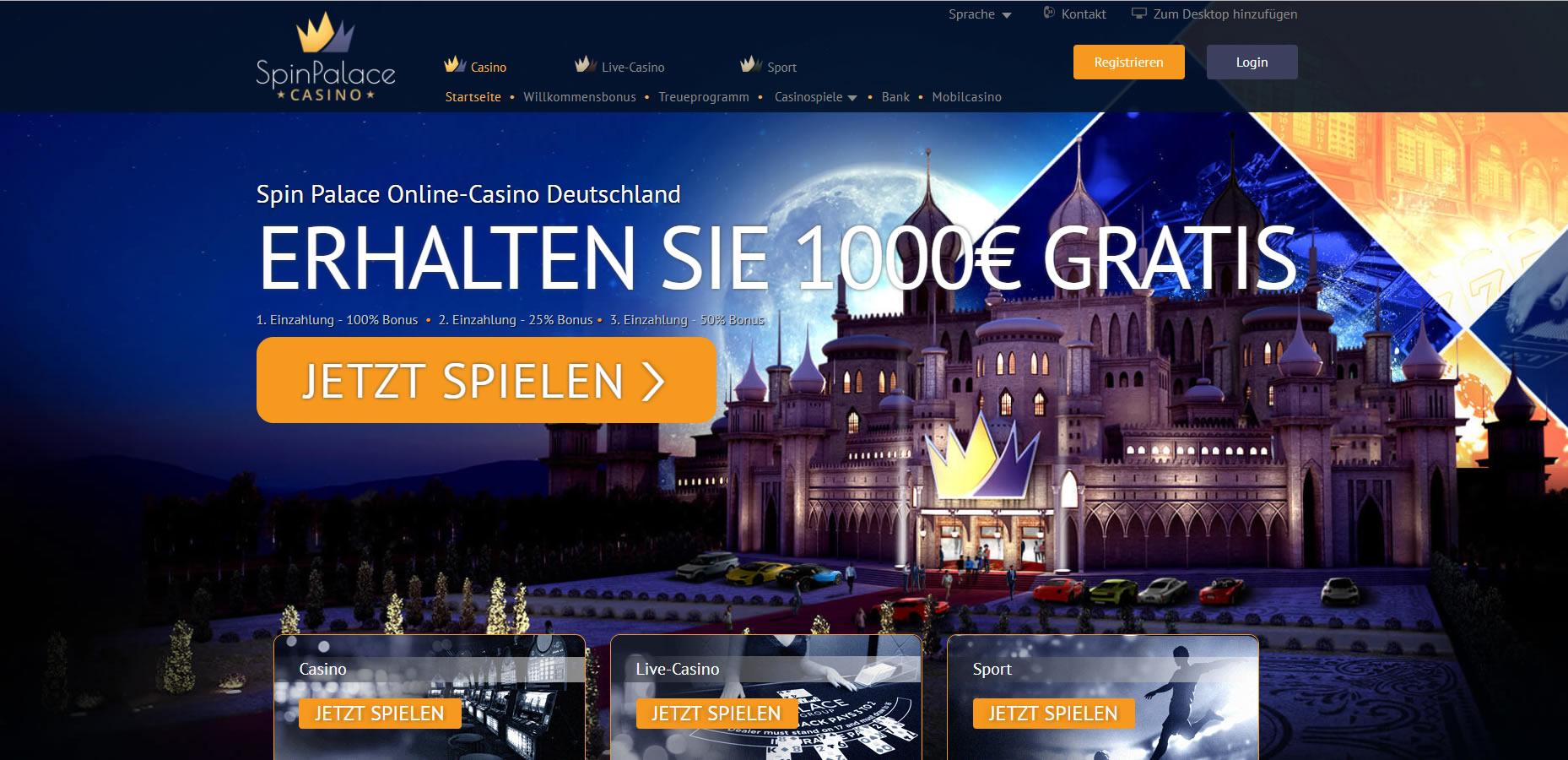 Spin Palace Casino Startseite