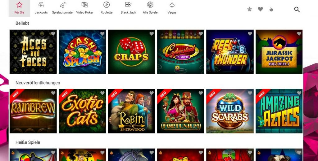 Ruby Fortune Casino Spiele
